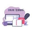 online training laptop homepage content books and vector image