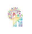 paris sign triumph arch french famous landmark vector image