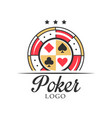 poker logo vintage emblem with dice for poker vector image
