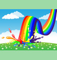 rainbow and color splash vector image vector image