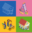 renovation isometric concept icons set vector image vector image