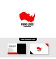 rhino logo template free business card mockup vector image
