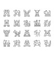 robot dog simple black line icons set vector image vector image