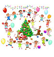 santa and joyful children vector image