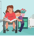 school boy caring about his mother in wheelchair vector image