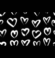 seamless pattern with white hand drawn hearts vector image