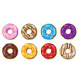 set colorful glazed donuts isolated on white vector image