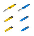 set different 3d stationery knife vector image