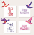 set halloween cards with witch hat and vector image