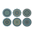 set of 6 mandalas painted in the same palette vector image