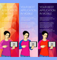 set of colorful banners with the girl and the vector image vector image