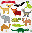 Set of funny cartoon animals character on white vector image