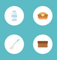 set of kitchen icons flat style symbols with vector image vector image
