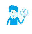 silhouette man with coin cash money in the hand vector image vector image