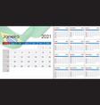 simple calendar 2021 on portuguese language vector image