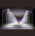 street lights realistic in fog composition vector image vector image