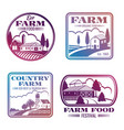 vintage colorful farm logos and labels set vector image