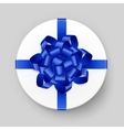 White Gift Box with Blue Bow and Ribbon Top View vector image vector image