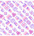 wine seamless pattern with thin line icons vector image vector image