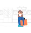 woman subway passenger wearing mask protection vector image