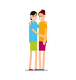 young woman girls standing and hugging each vector image