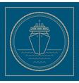 Marine emblem with cruise ship vector image