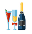 Icon of Alcohol Drinks and Glassess vector image