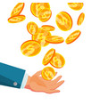 dollar falling to business hand flat vector image
