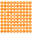 100 tea party icons set orange vector image vector image