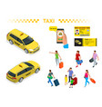a large set isomeric images a taxi car vector image