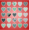 a variety of valentine s hearts vector image vector image