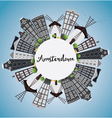 Amsterdam city skyline with grey buildings vector image vector image