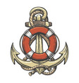 anchor and lifebuoy colorful tattoo vector image vector image