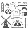 Bakery Monochrome Elements Set vector image vector image