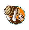 Bartender Pouring Drinking Keg Barrel Beer Retro vector image vector image