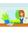 beautiful secretary working with computer vector image vector image
