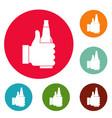 beer icons circle set vector image vector image