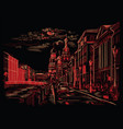 black and red hand drawing st petersburg 4 vector image