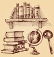 books and education set a wooden shelf of vector image
