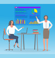 business graphics and businesswomen statistics vector image vector image
