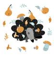 childish hedgehog carrying apple and mushroom vector image
