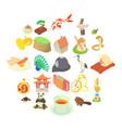 china icons set cartoon style vector image