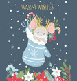 christmas and new year greeting card with cute vector image vector image
