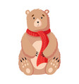 christmas bear flat isolated vector image