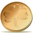 Coin with symbol of clover vector image