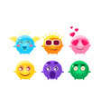 colorful glossy balls cartoon characters set cute vector image vector image