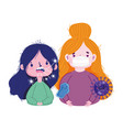 covid 19 coronavirus pandemic sick girls vector image vector image