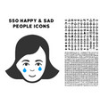 crying woman face icon with bonus vector image