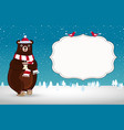 cute cartoon bear in santa hat on snowy vector image vector image