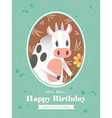 Cute Cow Animal Cartoon Birthday card design vector image